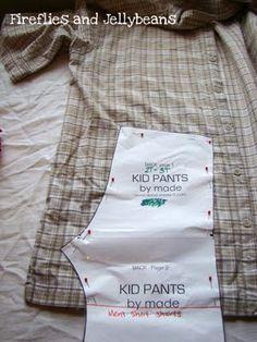 Make Baby Pants from Men's Dress Shirt from firefliesandjellybeans