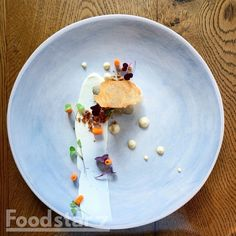 Chicken Liver Parfait with Onion Cream, Lemon, Pickled Carrots and Vogel Crumb