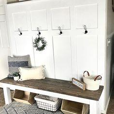 Image may contain: table and indoor via Entrance Decor, Board And Batten, Mudroom, Homestead, Farmhouse Decor, Sconces, Bench, Indoor, Future