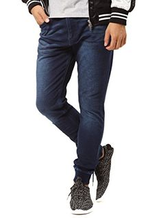 1cae7aa4d5 JIGGYS SHOP Men's Sweatpants Denim Joggers Pants Slim-Fit Tapered Stretch  Jeans M Indigo Wash