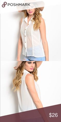 Sleeveless blouse Pretty, white, sleeveless, button up top with gold tone buttons. Sheer material with cute pattern on front. 60% polyester, 40% cotton material. Brand new! Tops Button Down Shirts