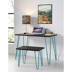 Altra Owen Retro Desk and Stool Bundle, Espresso with Teal Metal Legs