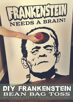 Frankenstein Halloween Bean Bag or Cornhole Toss Game by Three Little Monkeys Studio