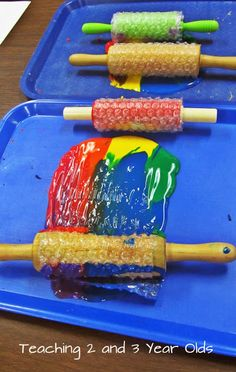 Combine bubble wrap and rolling pins for some creative painting fun! Perfect for a preschooler art activity.