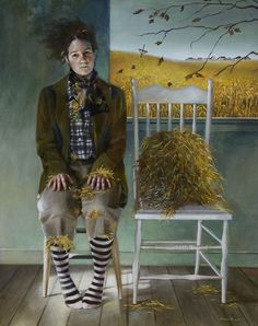 How intriguing. I love the notion of a scarecrow--live. I also love the position of her feet, her socks...her hair. Artist: Andrea Kowch