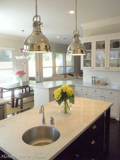 favorite kitchen-perfect mix white cabinets, stained island