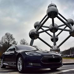 Model S meets the Atomium in Brussels. #cars #tesla #speed #TagsForLikes #FF #car