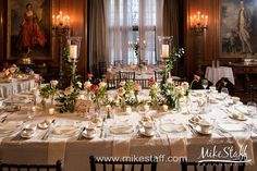 The main dining table in Meadow Brook Hall's Christopher Wren Dining Room is original to the home, and can set up to 14 guests. Many brides and grooms use this table for their head table.