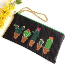 * A lovely line-up of cacti, but without the spikes* Large enough for the… Stitching Leather, Hand Stitching, Cactus Decor, Leather Clutch Bags, Tropical Vibes, Textile Jewelry, Coin Purse, Etsy Shop, Purses