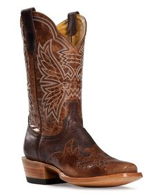 Love this Brown & White Mad Dog Leather Cowboy Boot by CINCH on #zulily! #zulilyfinds