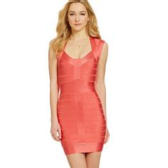 French Connection Bandage Dress Beautiful burnt orange / peachy color - true color is hard to capture with flash . Worn only once purchases from Saks French Connection Dresses Midi