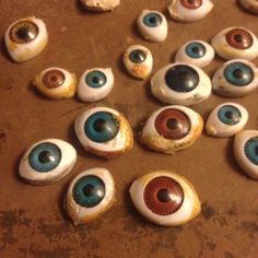 25 Used Flawed doll Eyes Mixed Sizes Colors Lot #17 For Art Or Repair