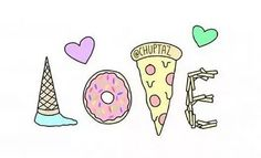 Ice cream, donuts, pizza, and mac and cheese. Sweet Drawings, Cute Easy Drawings, Cute Kawaii Drawings, Kawaii Art, Doodle Quotes, Doodle Art, Drawing Prompt, Pusheen Cat, Simple Doodles