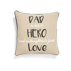 Levtex 'Dad Hero' Pillow ($39) ❤ liked on Polyvore featuring home, home decor, throw pillows, quote throw pillows and square throw pillows