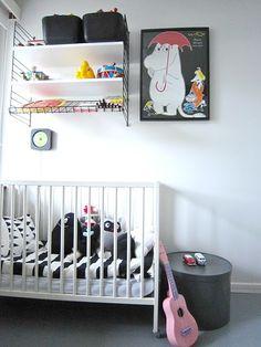 String shelves in a nursery