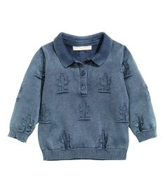 Cotton collared top with cactus pattern knit. Baby Exclusive. | H&M Kids