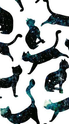 Wallpaper, cat, Galaxy