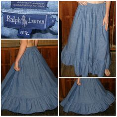 "Vintage RALPH LAUREN Skirt, Full, Long Maxi, Prairie Country Ruffle, Blue Cotton, Womens S, xs, Vtg Size 10, 28"" W"