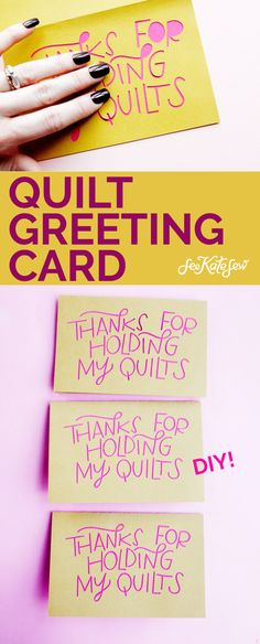 """This quilt greeting card says """"Thanks for holding my quilts"""" and is the perfect Valentine for that supportive person in your life who helps with crafts! Diy Beauty, Beauty Hacks, Hold Me, Funny Valentine, Blank Cards, Card Templates, Greeting Cards, Thankful, Things To Come"""