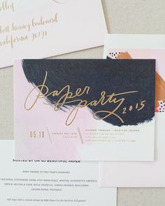 Paper Party 2015 Invitations: Navy and Pink Hand Painted Invitations with Matte Gold Foil by Moglea Bella Figura and Meant to Be Calligraphy