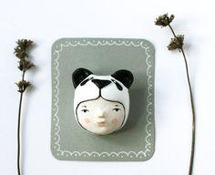 Animal brooch  Panda girl face pin   Handsculpted by sweetbestiary, £20.00
