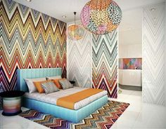 Achieving Best Interior Design Inspiration: Charming Interior Design Inspirations For Master Bedroom Ideas Using Green Daybed Bedroom Designs Also Mozaic Rainbow Wallpaper Cool Bedside Table Also Modern Pendant Lighting ~ surrealcoding.com Interior Inspiration