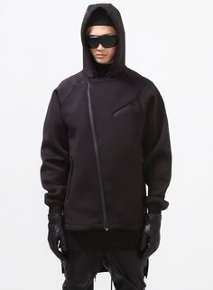 Wang Oversized Neoprene Hooded Biker Jacket $72.00 #Fashion #Street #Street #Neoprene #Wang #Biker #Black
