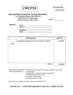 Sponsorship Invoice Sample