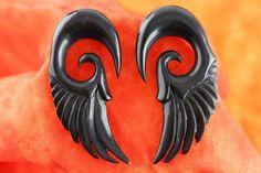 Black Feather Gauged Earrings