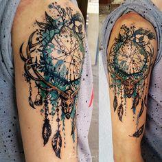 #deer #dreamcatcher #antler #magic #feather #arm #tattoo