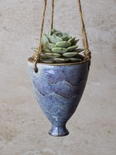 Small Hanging Succulent Planter, comes WITHOUT plant, Perfect Valentine's Gift, handmade ceramics, blue-white glaze, pottery by JolanaCeramicDesigns on Etsy