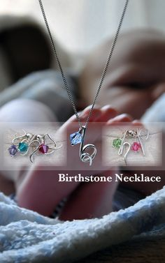 Mother's Birthstone Initial Necklace - #mothersdaygift #birthstonenecklace