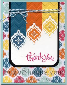 Stampin' Up! Cards - 2013-08 Mosaic Madness Stamp Camp, Quatrefancy Specialty Paper, Sassy Salutations, Thank You