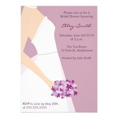 Elegant white gown purple bridal shower invitation