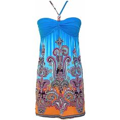 7caa273c6bcb7 Turquoise Multicolor Boho Print Halter Summer Dress ( 16) ❤ liked on Polyvore  featuring dresses