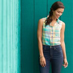 Whether it's dressed up with a pencil skirt or down with high-waisted denim, a colorful plaid is a wardrobe must.