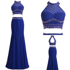 royal blue evening dresses,long prom dress,two pieces dress,two