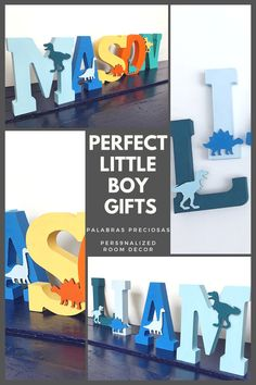 Choose from shades of blue or colorful dinosaur letters to add to you boys room or nursery decor. Both designs are hand painted and feature cute wooden dinosaurs painted in contrast colors. #dinoroom #boysroomdecor #toddlers #littleboy #dinosaur #babyshower #dinosaurgifts Boy Nursery Letters, Nursery Name Decor, Wood Nursery, Boys Room Decor, Playroom Decor, Playroom Ideas, Boy Room, Nursery Ideas, Bedroom Ideas