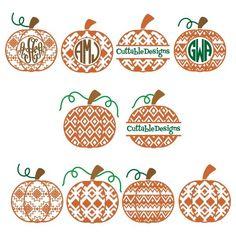 Pumpkin Aztec Pattern Svg Cuttable Designs | Apex Embroidery Designs, Monogram…