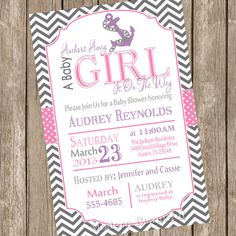 Chevron anchors away a baby is girl on the way baby shower invitation, pink, purple, grey, anchor, nautical, digital file