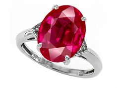 Tommaso Design Oval Created Ruby Ring