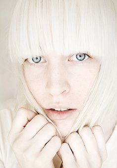 pale skin, blunt bangs, platinum blonde hair, big blue eyes