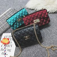 Scrub Jelly Chain Shoulder Plaid Bags 2017 Fashion Brand Crossbody Messenger Lock Bag Women Handbag Clutch PVC Bag High Quality