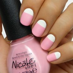 Pink and White Mani // pink manicure // pink nails // white nails // cute nails // nail designs // reversed french manicure Love Nails, How To Do Nails, Pretty Nails, Fun Nails, White Nail Designs, Simple Nail Art Designs, Easy Nail Art, White Nail Art, White Nails