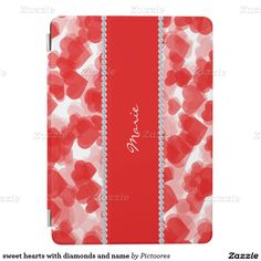 sweet hearts with diamonds and name iPad air cover