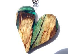 Wood and Resin Carved Heart Necklace, Spalted beech, wood heart pendant, heart necklace, Wooden Heart Pendant, carved wood heart,