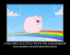 Fluffle Puff! Pink fluffy unicorns dancing on rainbows style.