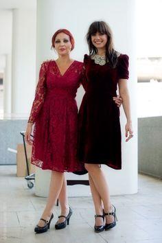 velvet dress on the right :)
