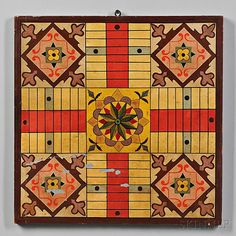 Paint-decorated and Gilt Parcheesi Game Board - Current price: $400