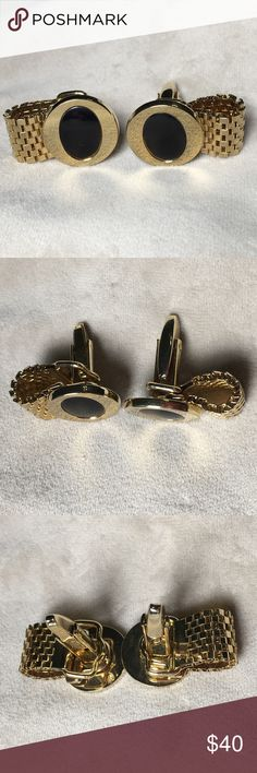 "Vintage Mid-Century Gold Tone Cufflinks Vintage Mid-Century Modern gold tone and black cufflinks. These are absolutely gorgeous and come with mesh wrap. Measures .75"" X .75"". Pre-owned vintage with minor wear. Vintage Accessories Cuff Links"